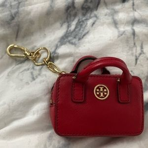Tory Burch Deep Red Keychain/Card Holder